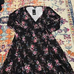 NWT floral wrap dress with blue tank top